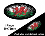 Fade To Black OVAL Design & Welsh Wales CYMRU Flag Vinyl Car sticker decal 150x75mm